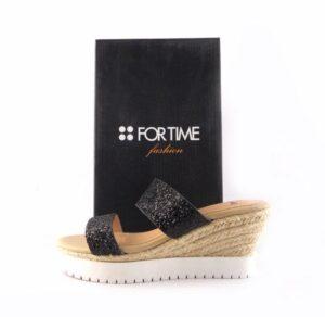 Sandalias de cuña FOR TIME dos tiras glitter negro