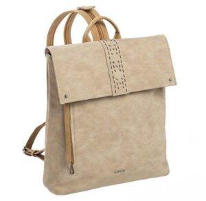 Mochila mujer MATTIES BAGS Mojarra con solapa color beig