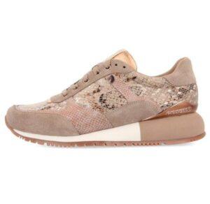 Sneakers GIOSEPPO Onhaye beige con detalle de print de serpiente y cuña