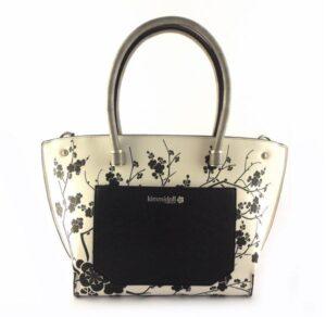Bolso de asas tipo shopper KIMMIDOLL Satsuki blanco y negro floral