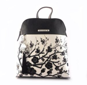 Mochila para mujer KIMMIDOLL Satsuki blanco y negro estampado floral