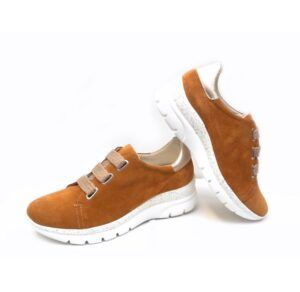 Deportivas en piel NATURE SHOES London camel con platino