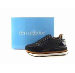 Zapatillas deportivas DON ALGODON negro acolchado con charol