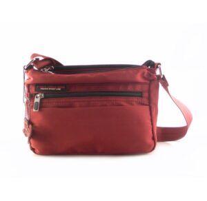 Bolso bandolera TIGER nylon con tres compartimentos color rojo