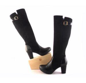 Botas altas piel con tacón para mujer D'Chicas negro combinado ante