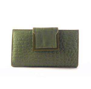 Billetera de piel grande para mujer NILO coco print verde