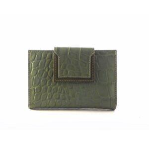 Billetera de piel mediana Para Mujer NILO Coco Print Verde