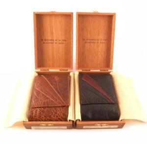 Pitillera piel auténtica NILO en caja de madera