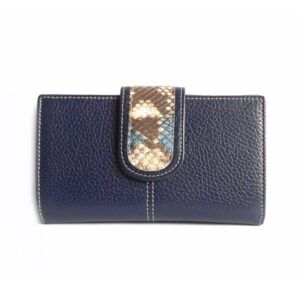 Cartera billetera mujer piel Nilo azul marino solapa reptil