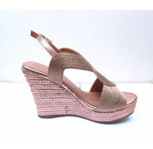 Sandalias de cuña EL CABALLO color oro rosa