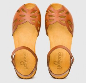 Sandalia de cuña en piel YOKONO Monaco 003 marrón