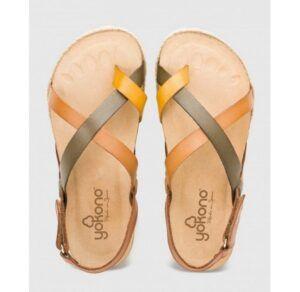 Sandalia de plataforma en piel YOKONO Chipre marrón