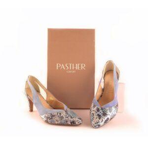 Zapatos vestir piel PASTHER azul combinado con serpiente print