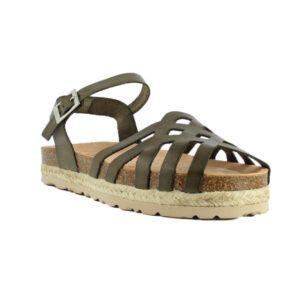 Sandalia de plataforma en piel YOKONO Java verde kaki