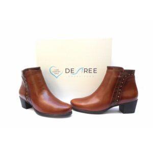 Botines piel cómodos de tacón bajo Desireé Shoes color cuero