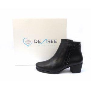 Botines piel cómodos de tacón bajo Desireé Shoes color negro